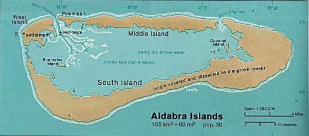 Aldabra Islands Shaded Relief Map, Seychelles