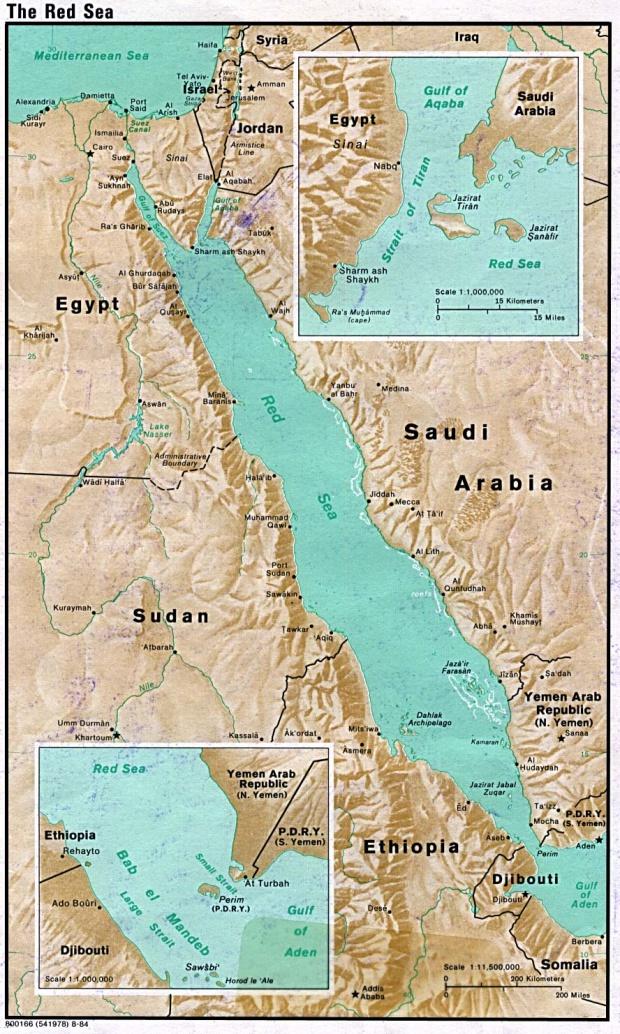 Mapa de Relieve Sombreado del Mar Rojo