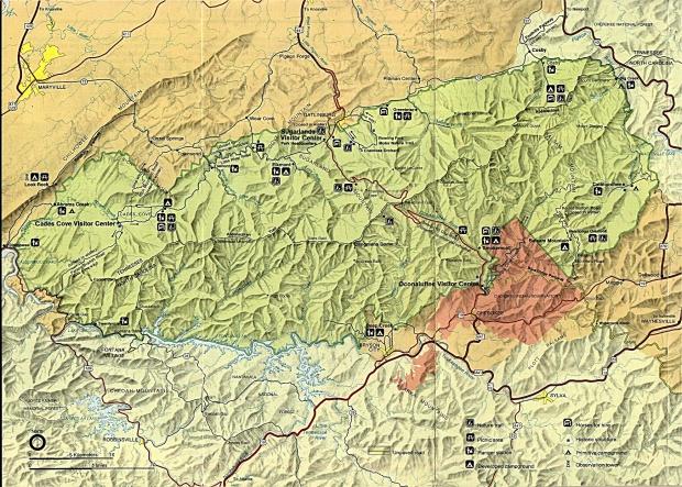 Mapa de Relieve Sombreado del Parque Nacional Grandes Montañas Humeantes, Tennessee, Estados Unidos