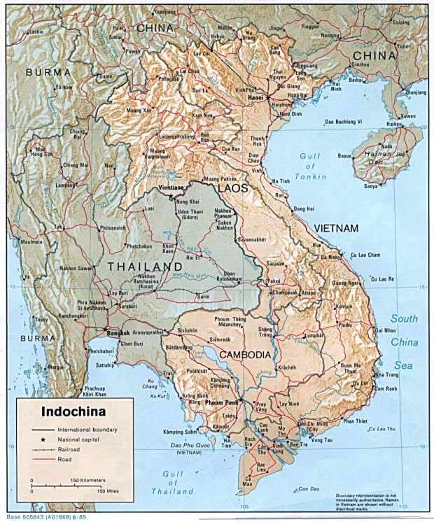 Indochina Shaded Relief Map