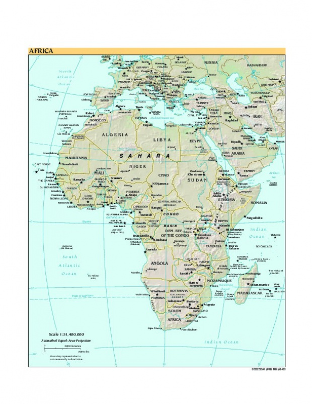 Mapa de Relieve de África 2006