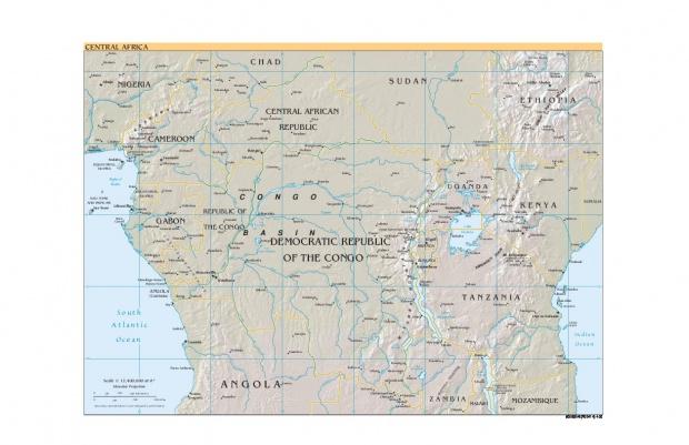 Mapa de Relieve de África Central 2000