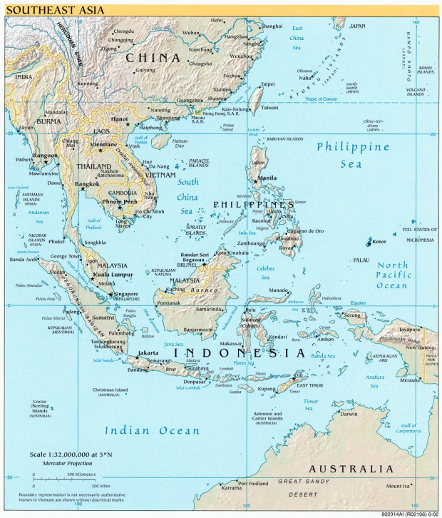 Southeastern Asia physical map 2002