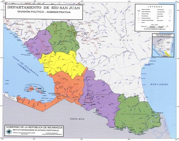 Mapa de Río San Juan, División Político-Administrativa del Departamento, Nicaragua