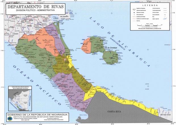Mapa de Rivas, División Político-Administrativa del Departamento, Nicaragua
