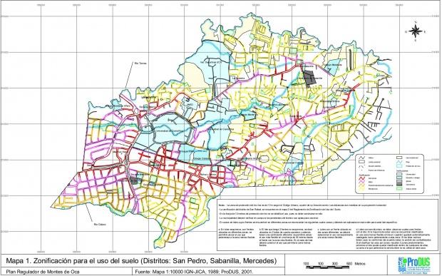 Mapa de San Pedro, Mercedes y Sabanilla, Costa Rica