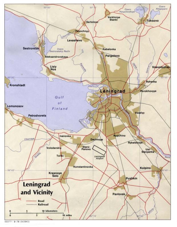 Mapa de San Petersburgo y Vecindad, Rusia