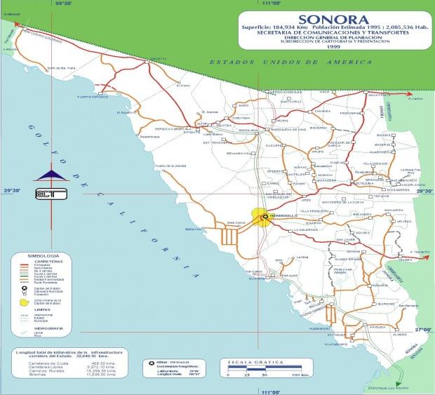 Mapa de Sonora (Estado), Mexico