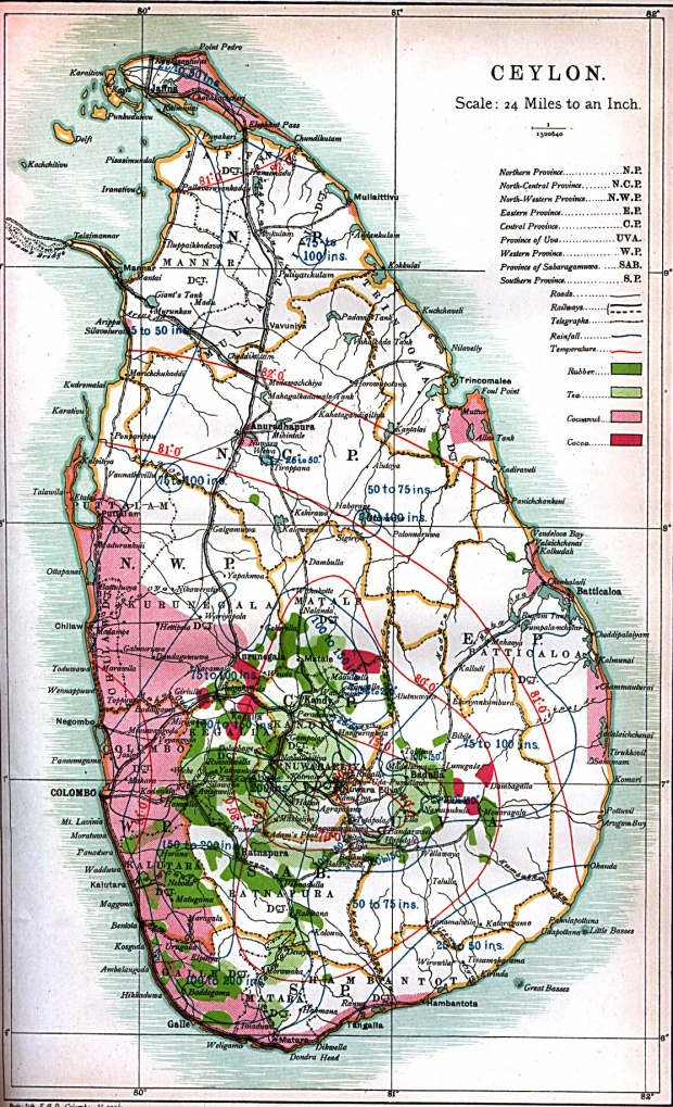Ceylon Map (Sri Lanka) 1914