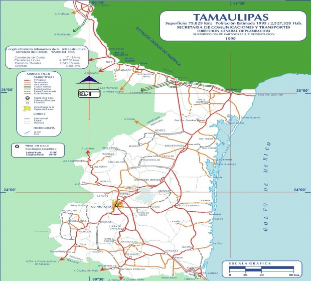 Mapa de Tamaulipas (Estado), Mexico