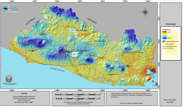 Mapa de Temperatura de El Salvador