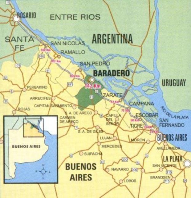 Mapa de Ubicación de la Ciudad de Baradero, Prov. Buenos Aires, Argentina