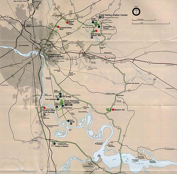 Mapa de Ubicación del Parque Campo de Batalla Nacional Richmond, Virginia, Estados Unidos