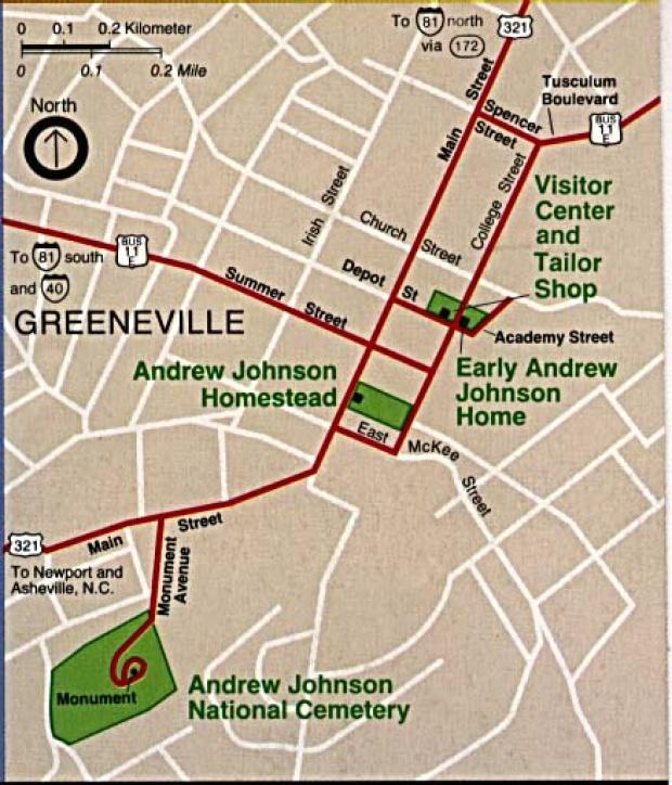 Mapa de Ubicación del Sitio Histórico Nacional  Andrew Johnson, Tennessee, Estados Unidos