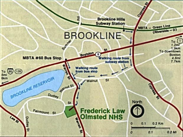 Mapa de Ubicación del Sitio Histórico Nacional Frederick Law Olmsted, Massachusetts, Estados Unidos