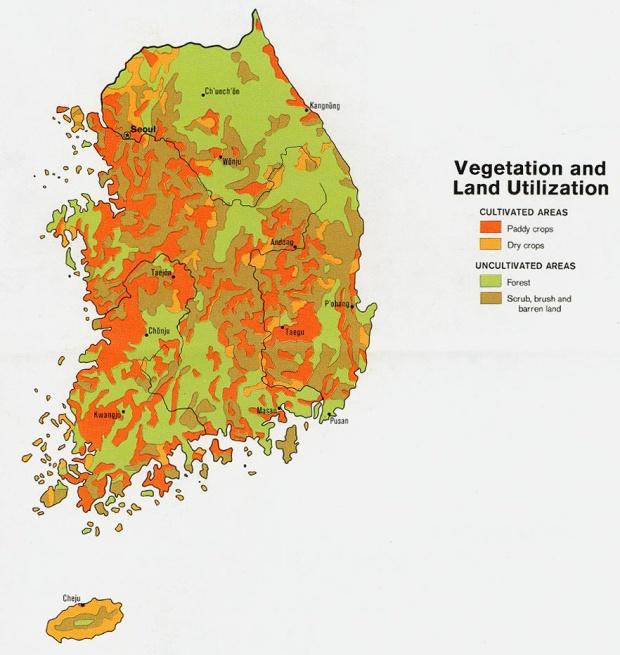 Mapa de Utilización de la Tierra y Vegetación de Corea del Sur
