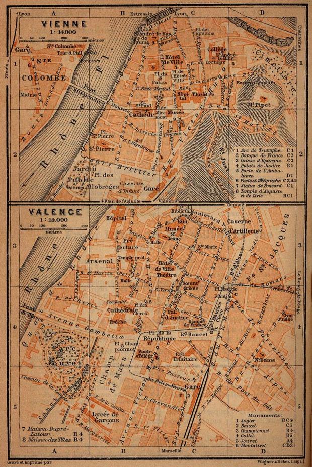 Mapa de Valence y Vienne, Francia 1914