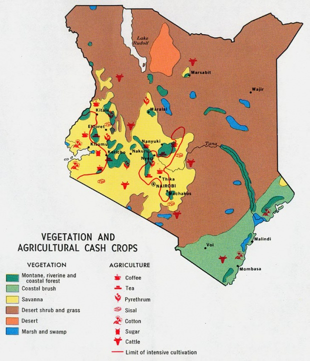 Map of Vegetation and Agricultural Cash Crops, Kenya
