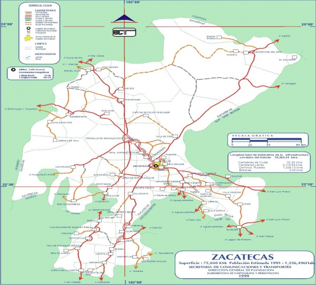 Mapa de Zacatecas (Estado), Mexico