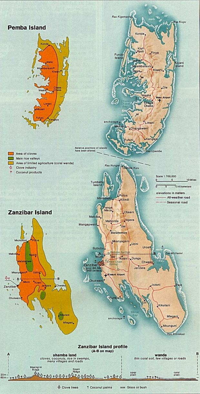 Mapa de Zanzibar y de la Isla de Pemba