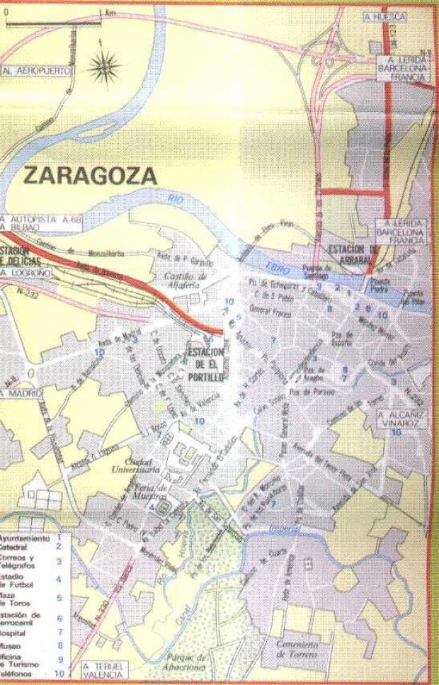 Mapa de Zaragoza, España