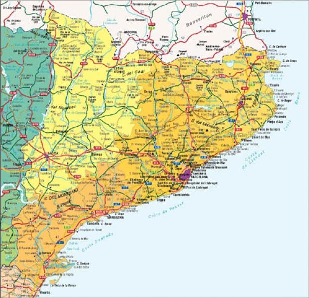 Mapa de carreteras de Cataluña