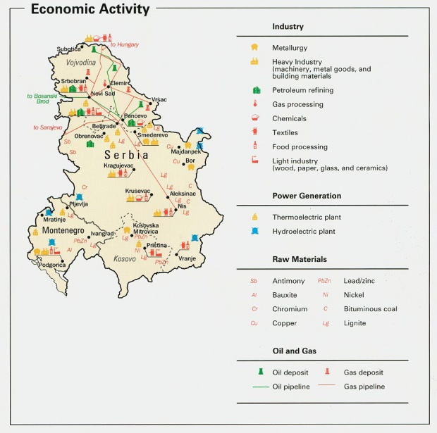 Serbia and Montenegro Economic Activity Map