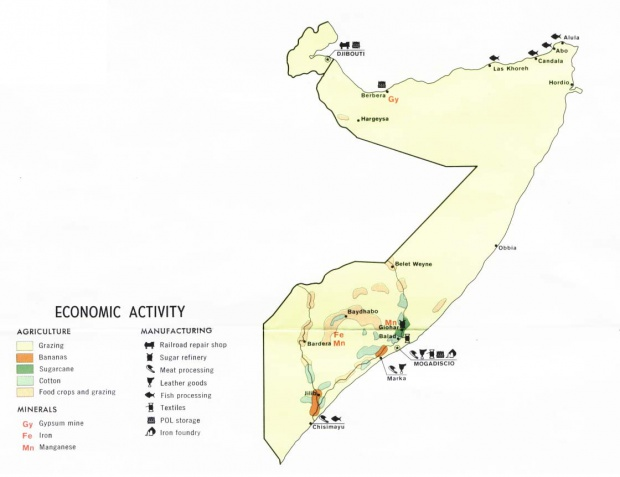 Somalia and Djibouti Economic Activity Map