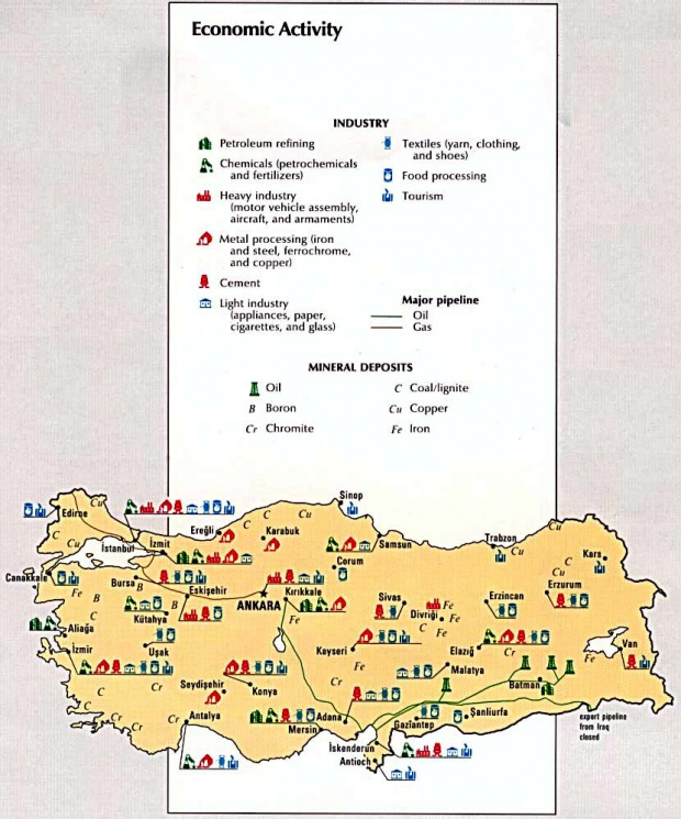 Turkey Economic Activity Map 1993