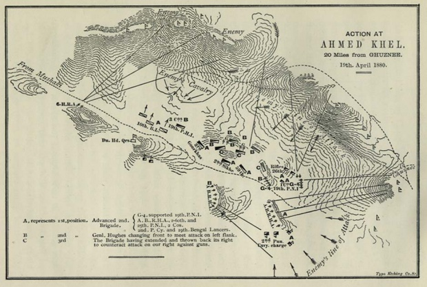 Map of Action at Ahmed Khel, Afghanistan 1880