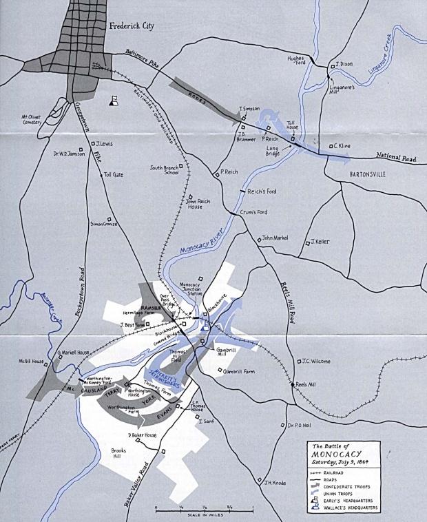 Mapa de la Batalla de Monocacy, Maryland, Estados Unidos, Julio 9, 1864