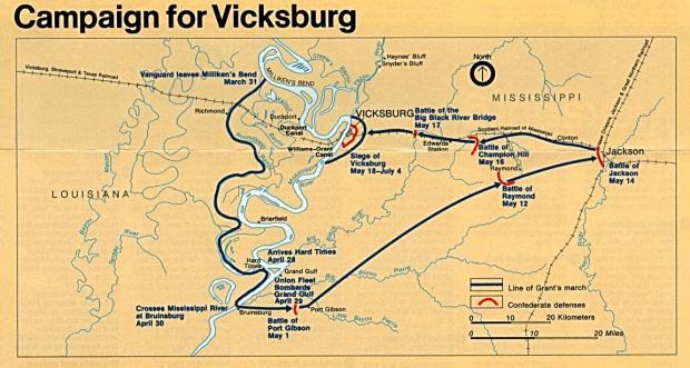 Mapa de la Campaña de Vicksburg, Misisipi, Estados Unidos, Marzo 31 to Julio 4, 1863