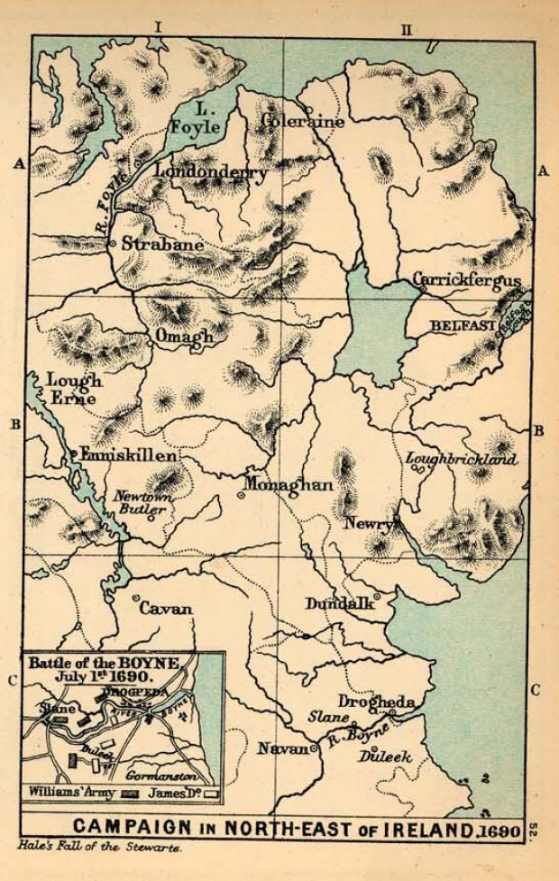 Map of Campaign in the North-East of Ireland and Battle of the Boyne, 1690