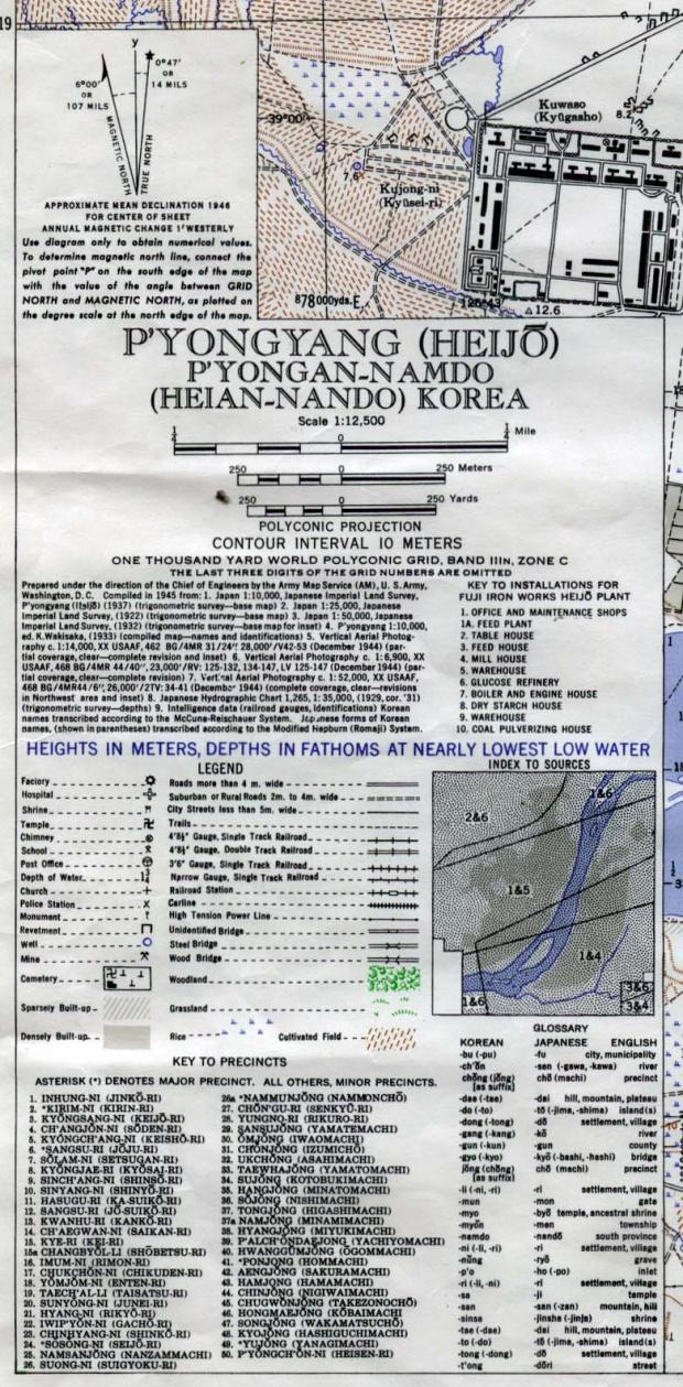 Mapa de la Ciudad Pyongyang, Corea del Norte 1946 (llave)