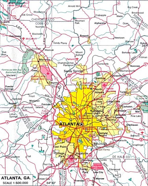 Mapa de la Ciudad de Atlanta, Georgia, Estados Unidos