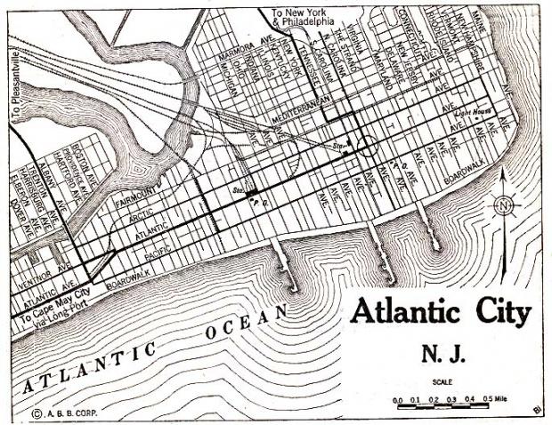 Mapa de la Ciudad de Atlantic City, Nueva Jersey, Estados Unidos 1920