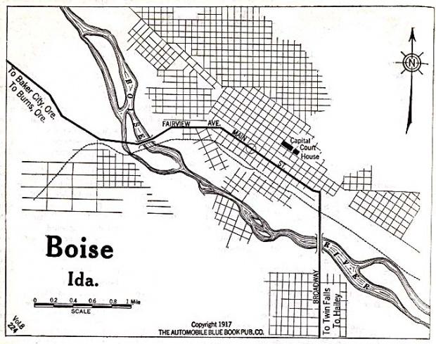 Mapa de la Ciudad de Boise, Idaho, Estados Unidos 1917
