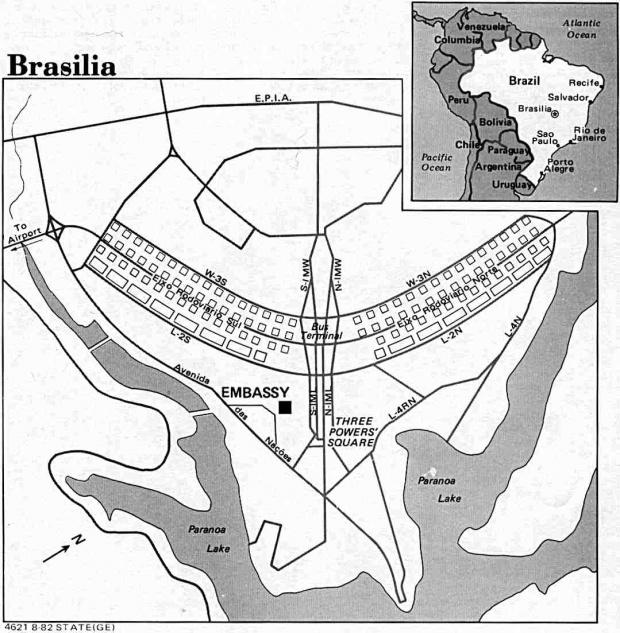 Mapa de la Ciudad de Brasilia, Brasil