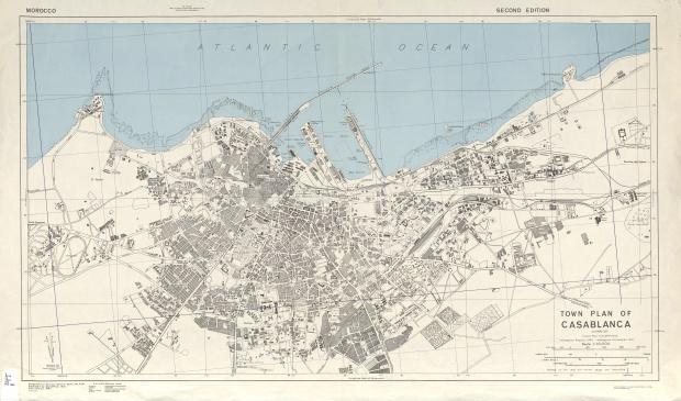 Mapa de la Ciudad de Casablanca, Marruecos 1942