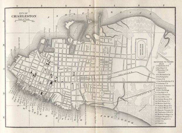 Mapa de la Ciudad de Charleston, Carolina del Sur, Estados Unidos 1885