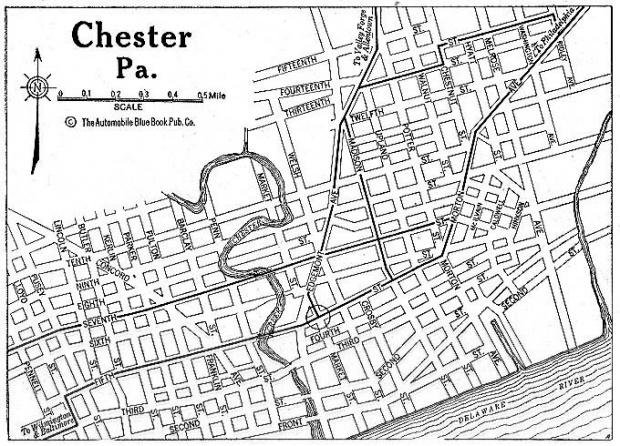 Mapa de la Ciudad de Chester, Pensilvania, Estados Unidos 1920