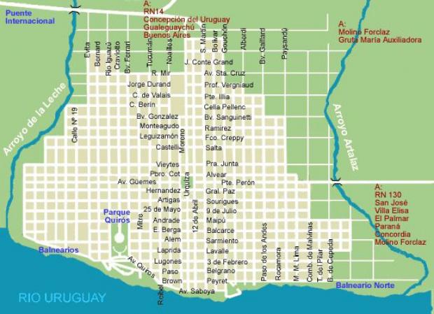 Mapa de la Ciudad de Colón Prov. Entre Rios, Argentina