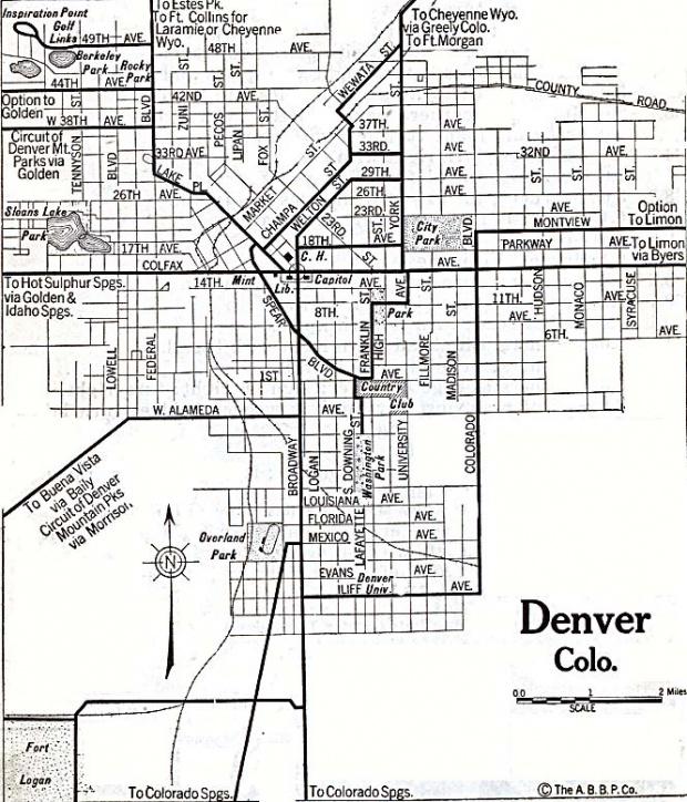 Mapa de la Ciudad de Denver, Colorado, Estados Unidos 1920