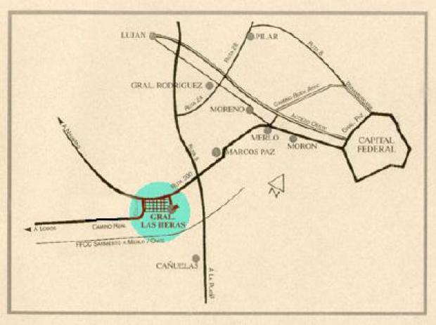 Mapa de la Ciudad de General Las Heras, Prov. Buenos Aires, Argentina