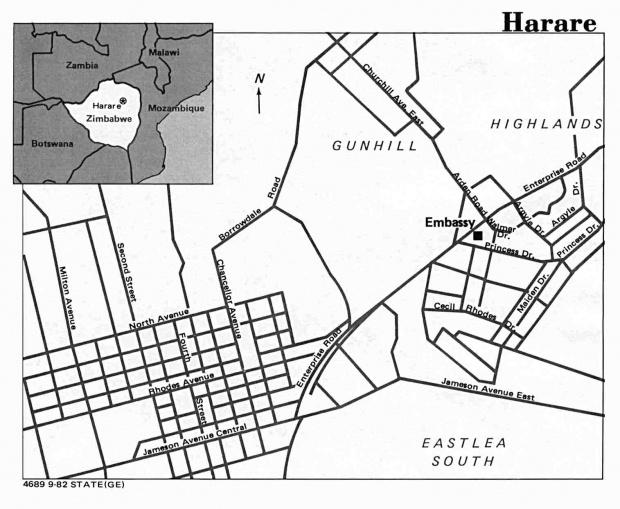 Mapa de la Ciudad de Harare, Zimbabue