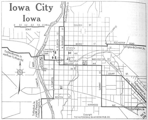 Mapa de la Ciudad de Iowa City, Iowa, Estados Unidos 1920
