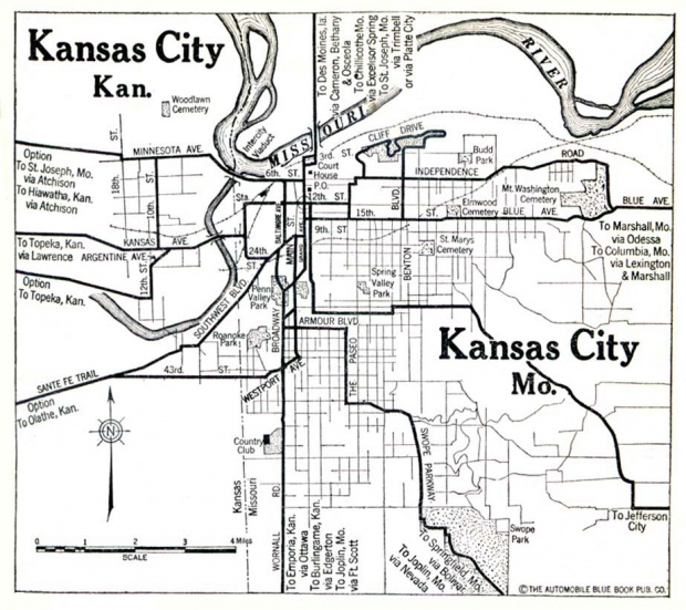 Kansas City Map, Kansas and Missouri, United States 1920