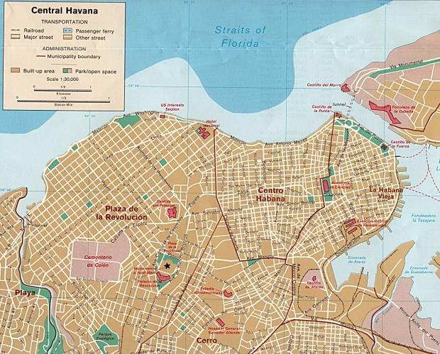Havana City Map, Cuba