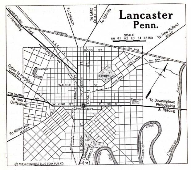 Mapa de la Ciudad de Lancaster, Pensilvania, Estados Unidos 1920