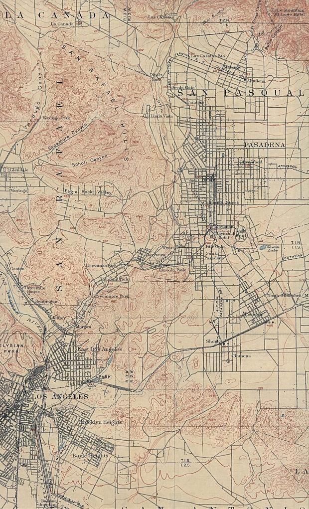 Mapa de la Ciudad de Los Angeles (Este), California, Estados Unidos 1900